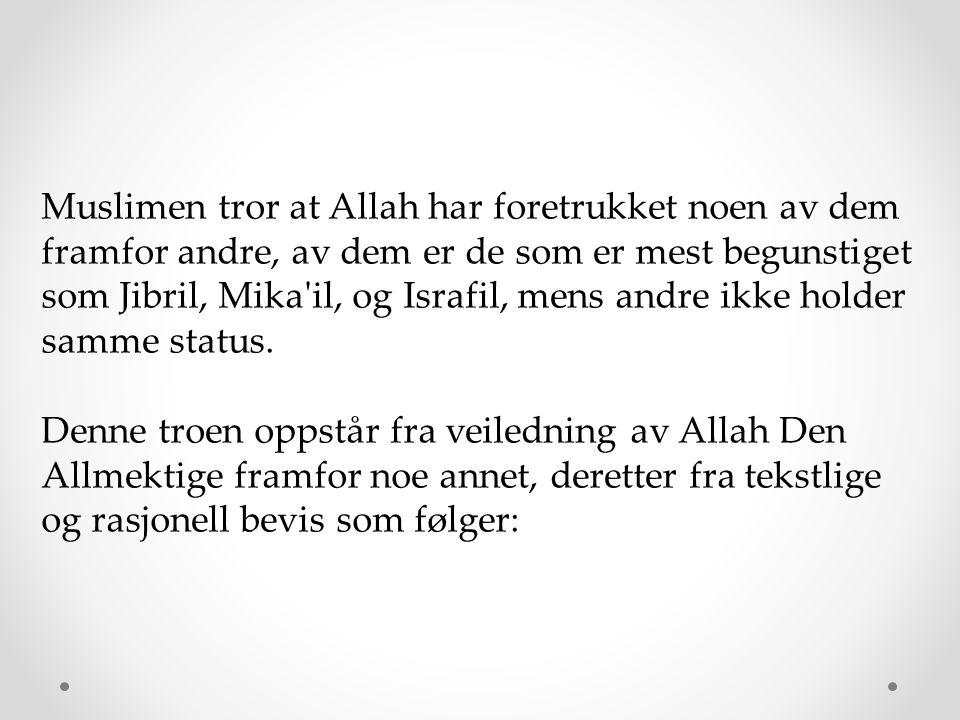 Muslimen tror at Allah har foretrukket noen av dem framfor andre, av dem er de som er mest begunstiget som Jibril, Mika'il, og Israfil, mens andre ikk