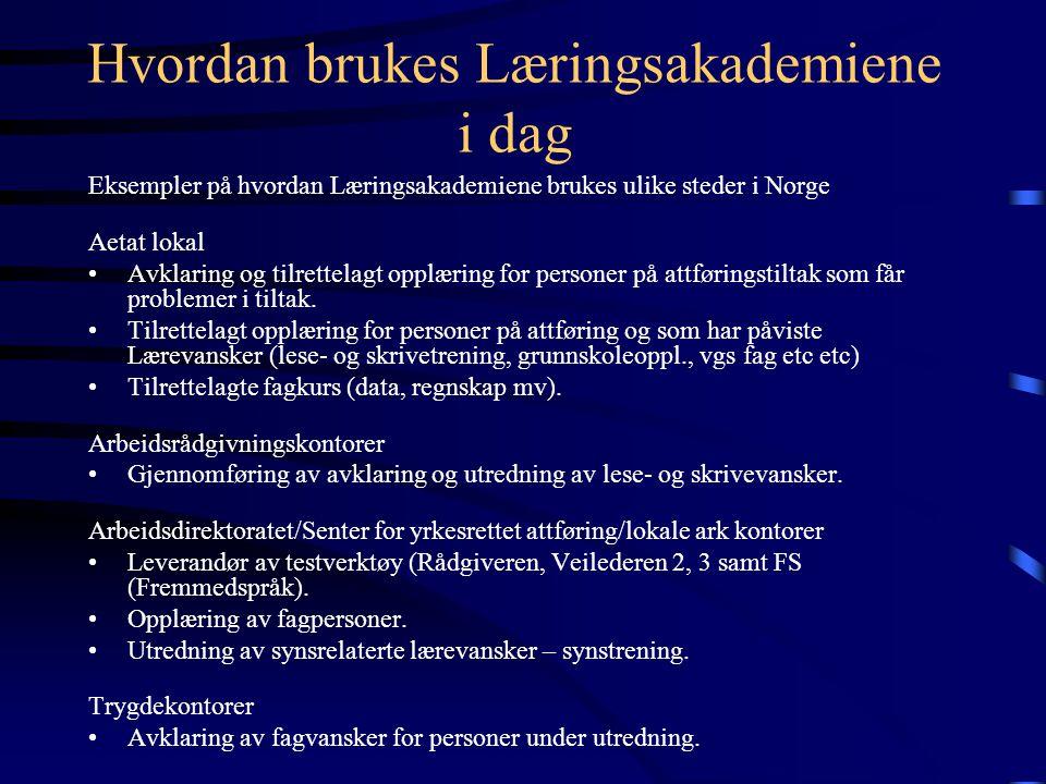 Hvordan brukes Læringsakademiene i dag Eksempler på hvordan Læringsakademiene brukes ulike steder i Norge Aetat lokal Avklaring og tilrettelagt opplæring for personer på attføringstiltak som får problemer i tiltak.