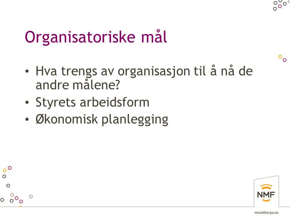 Organisatoriske mål Hva trengs av organisasjon til å nå de andre målene? Styrets arbeidsform Økonomisk planlegging