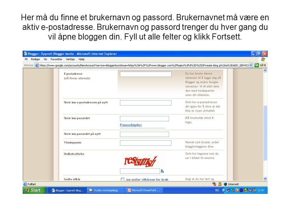 Her må du finne et brukernavn og passord. Brukernavnet må være en aktiv e-postadresse. Brukernavn og passord trenger du hver gang du vil åpne bloggen