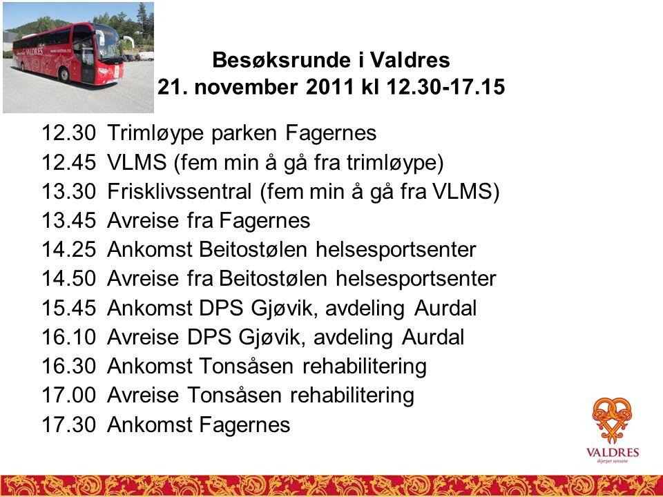 Besøksrunde i Valdres 21. november 2011 kl 12.30-17.15 12.30 Trimløype parken Fagernes 12.45 VLMS (fem min å gå fra trimløype) 13.30 Frisklivssentral