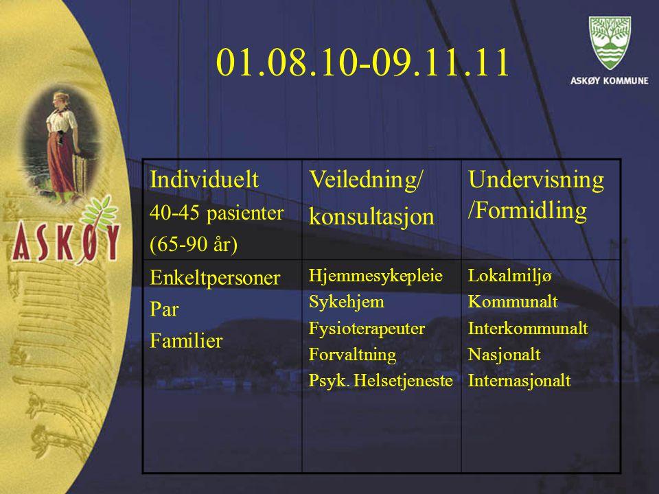 01.08.10-09.11.11 Individuelt 40-45 pasienter (65-90 år) Veiledning/ konsultasjon Undervisning /Formidling Enkeltpersoner Par Familier Hjemmesykepleie