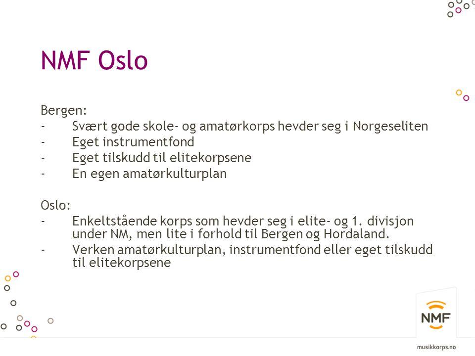 NMF Oslo Bergen: -Svært gode skole- og amatørkorps hevder seg i Norgeseliten -Eget instrumentfond -Eget tilskudd til elitekorpsene -En egen amatørkulturplan Oslo: -Enkeltstående korps som hevder seg i elite- og 1.