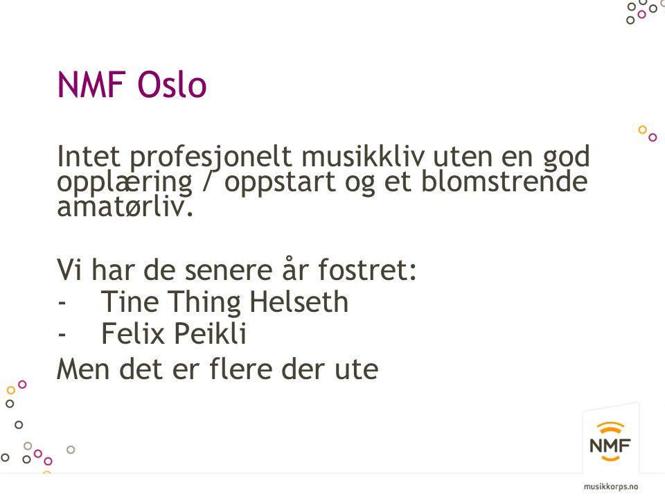 NMF Oslo Intet profesjonelt musikkliv uten en god opplæring / oppstart og et blomstrende amatørliv.