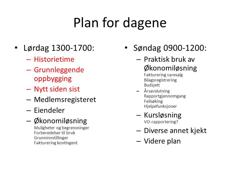 Plan for dagene Lørdag 1300-1700: – Historietime – Grunnleggende oppbygging – Nytt siden sist – Medlemsregisteret – Eiendeler – Økonomiløsning Mulighe