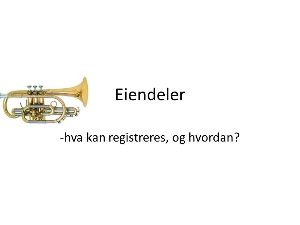 Eiendeler -hva kan registreres, og hvordan?