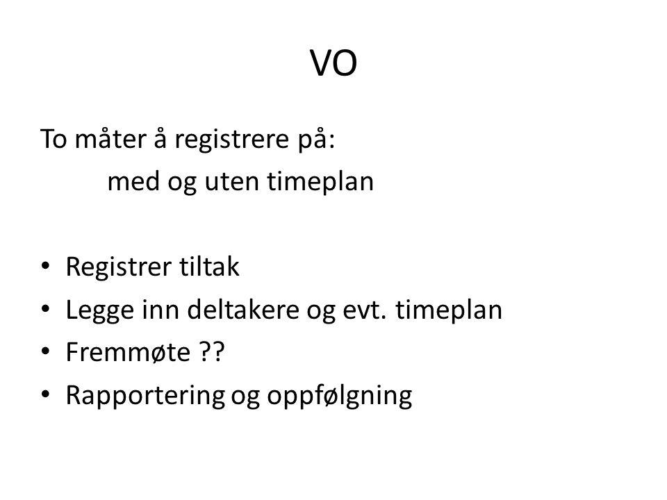 VO To måter å registrere på: med og uten timeplan Registrer tiltak Legge inn deltakere og evt. timeplan Fremmøte ?? Rapportering og oppfølgning