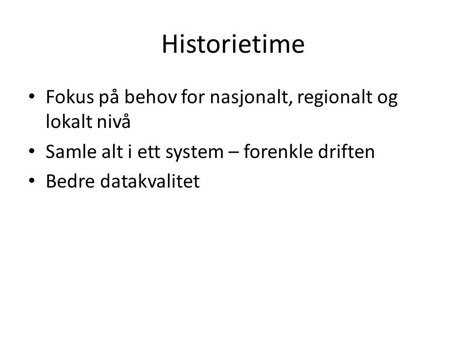 Historietime Fokus på behov for nasjonalt, regionalt og lokalt nivå Samle alt i ett system – forenkle driften Bedre datakvalitet