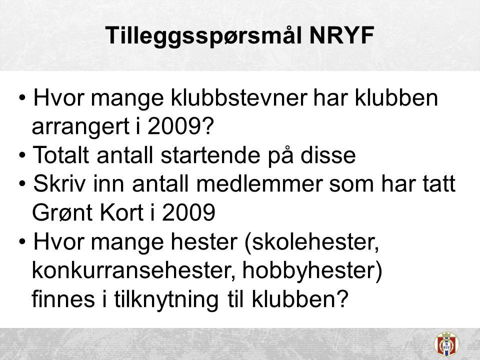 Tilleggsspørsmål NRYF Hvor mange klubbstevner har klubben arrangert i 2009.