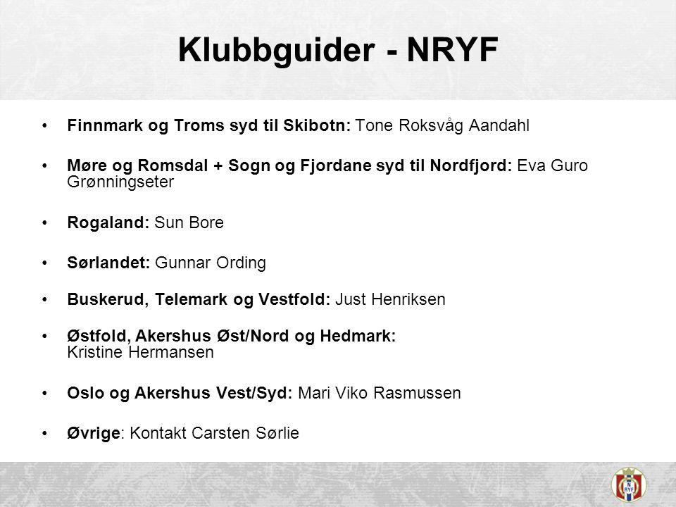Klubbguider - NRYF Finnmark og Troms syd til Skibotn: Tone Roksvåg Aandahl Møre og Romsdal + Sogn og Fjordane syd til Nordfjord: Eva Guro Grønningsete
