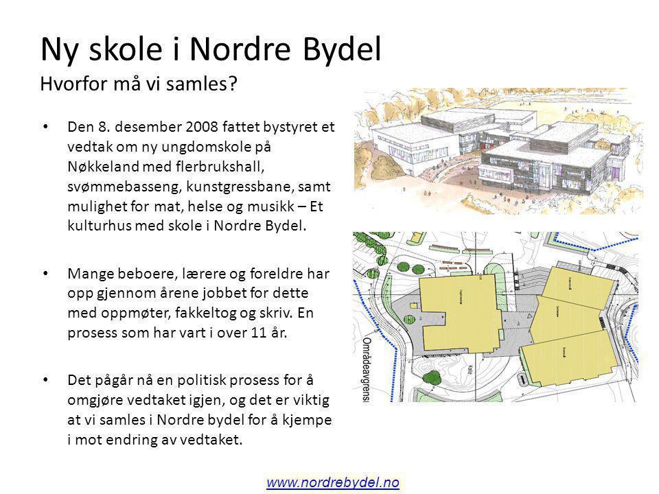Ny skole i Nordre Bydel Hvorfor må vi samles. Den 8.