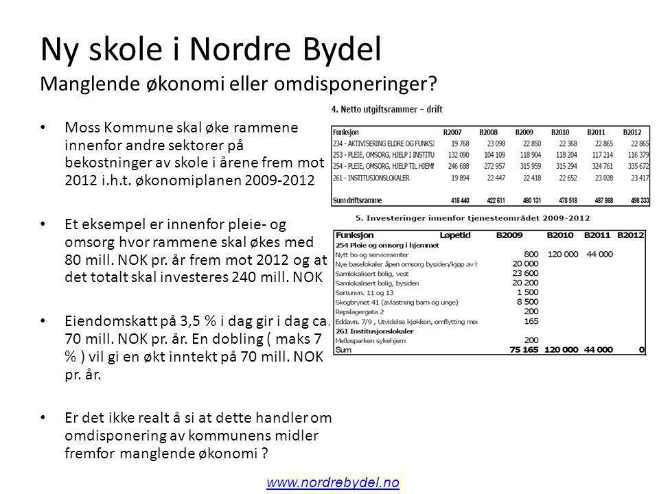 Ny skole i Nordre Bydel Er det å satse på skole en utgift eller en inntektservervelse .