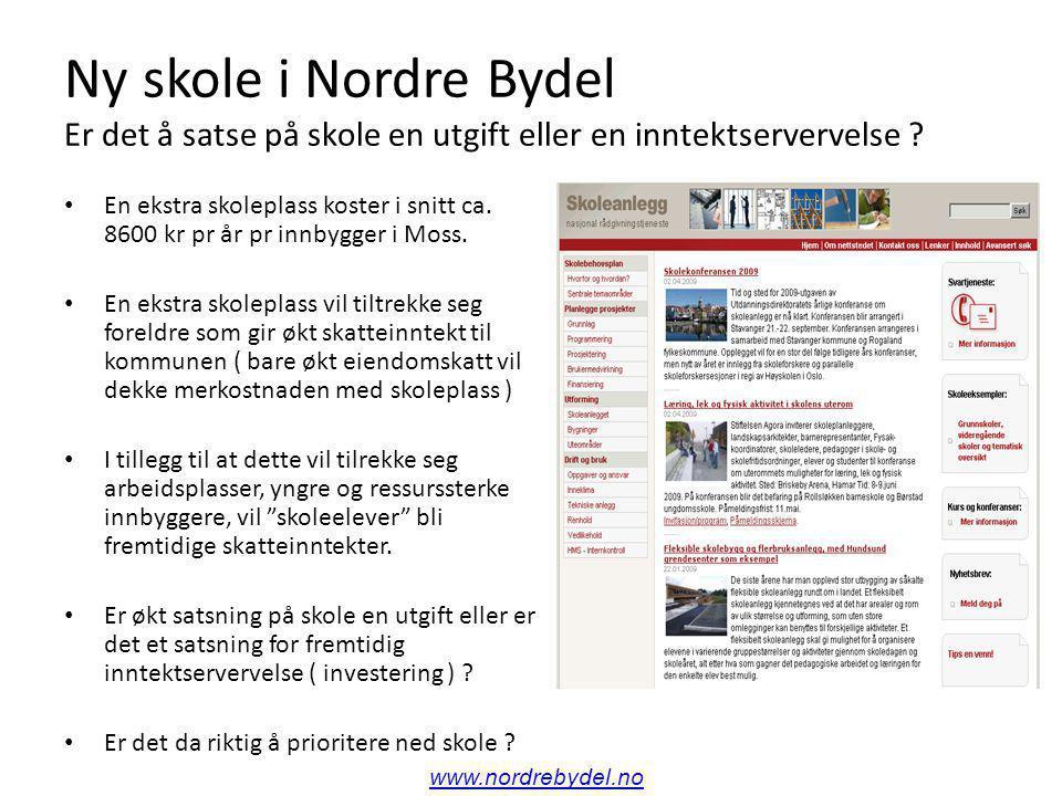 Ny skole i Nordre Bydel For mye på skole og skolebygg i Moss Kommune ? www.nordrebydel.no
