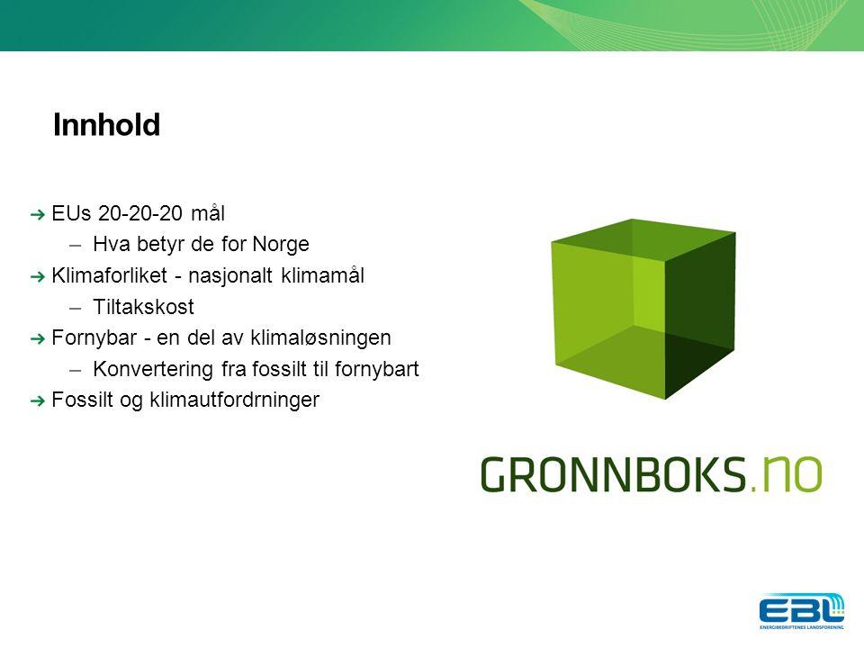 Innhold EUs 20-20-20 mål –Hva betyr de for Norge Klimaforliket - nasjonalt klimamål –Tiltakskost Fornybar - en del av klimaløsningen –Konvertering fra fossilt til fornybart Fossilt og klimautfordrninger