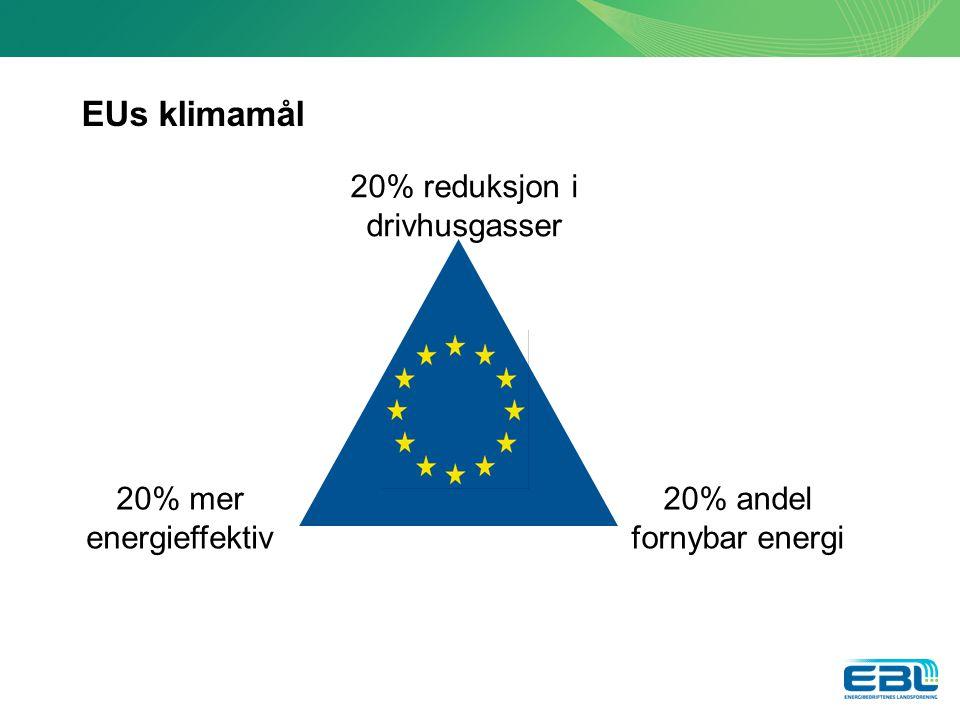 EUs klimamål 20% reduksjon i drivhusgasser 20% mer energieffektiv 20% andel fornybar energi