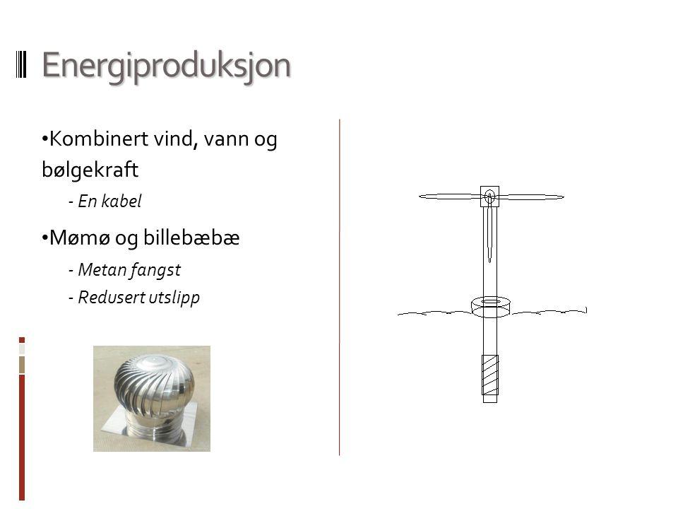 Energiproduksjon Kombinert vind, vann og bølgekraft - En kabel Mømø og billebæbæ - Metan fangst - Redusert utslipp