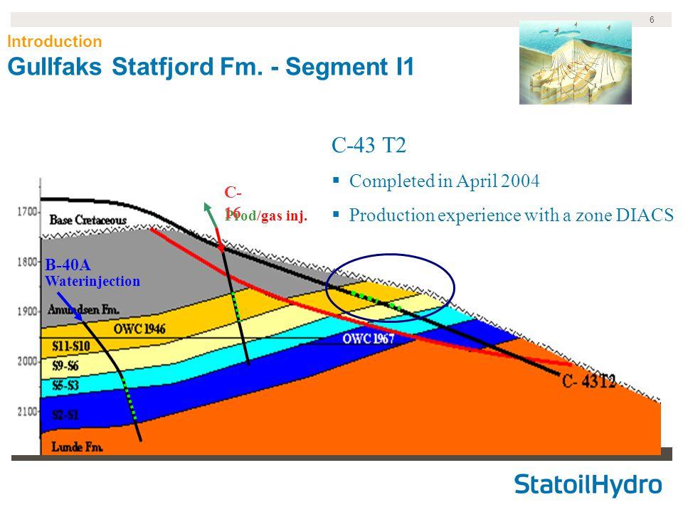 6 Introduction Gullfaks Statfjord Fm.- Segment I1 Waterinjection Prod/gas inj.