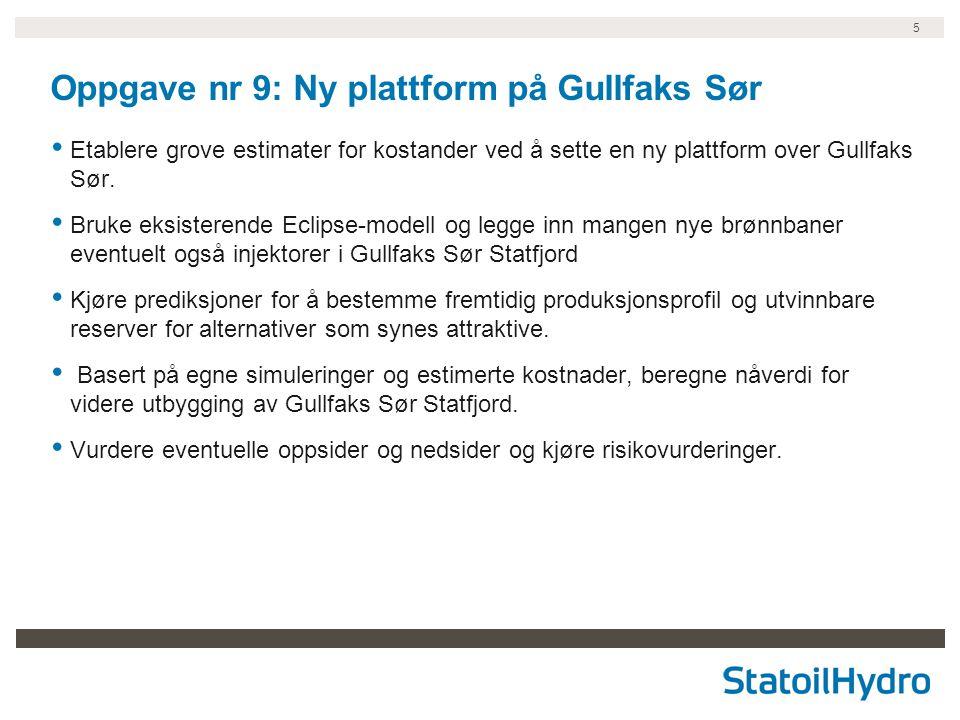 5 Oppgave nr 9: Ny plattform på Gullfaks Sør Etablere grove estimater for kostander ved å sette en ny plattform over Gullfaks Sør.