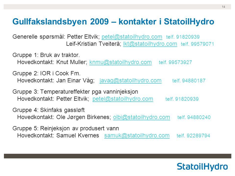 14 Gullfakslandsbyen 2009 – kontakter i StatoilHydro Generelle spørsmål: Petter Eltvik; petel@statoilhydro.com telf. 91820939 Leif-Kristian Tveiterå;