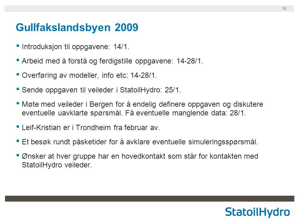 15 Gullfakslandsbyen 2009 Introduksjon til oppgavene: 14/1. Arbeid med å forstå og ferdigstille oppgavene: 14-28/1. Overføring av modeller, info etc: