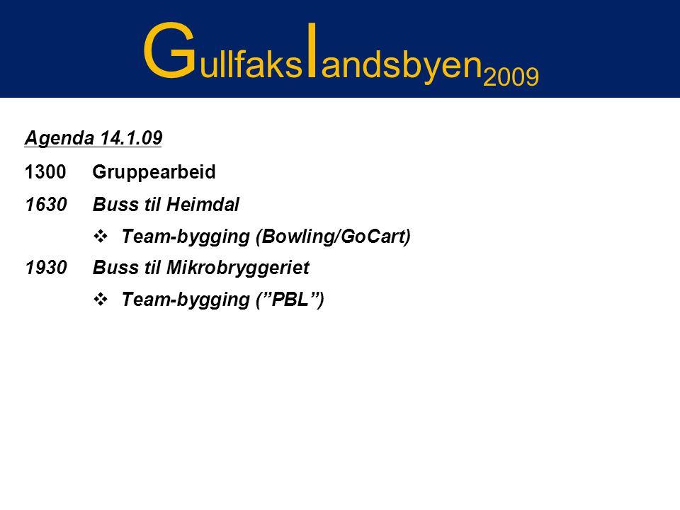 Gullfakslandsbyen 2007 Agenda 14.1.09 1300 Gruppearbeid 1630 Buss til Heimdal  Team-bygging (Bowling/GoCart) 1930 Buss til Mikrobryggeriet  Team-byg