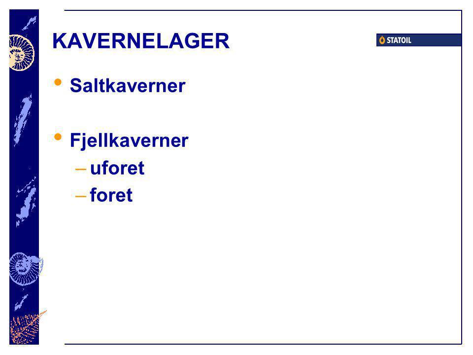 KAVERNELAGER Saltkaverner Fjellkaverner –uforet –foret