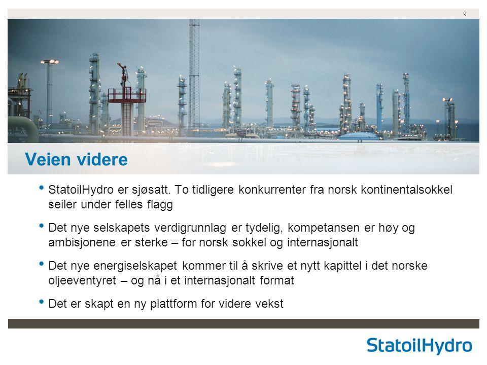 9 Veien videre StatoilHydro er sjøsatt. To tidligere konkurrenter fra norsk kontinentalsokkel seiler under felles flagg Det nye selskapets verdigrunnl