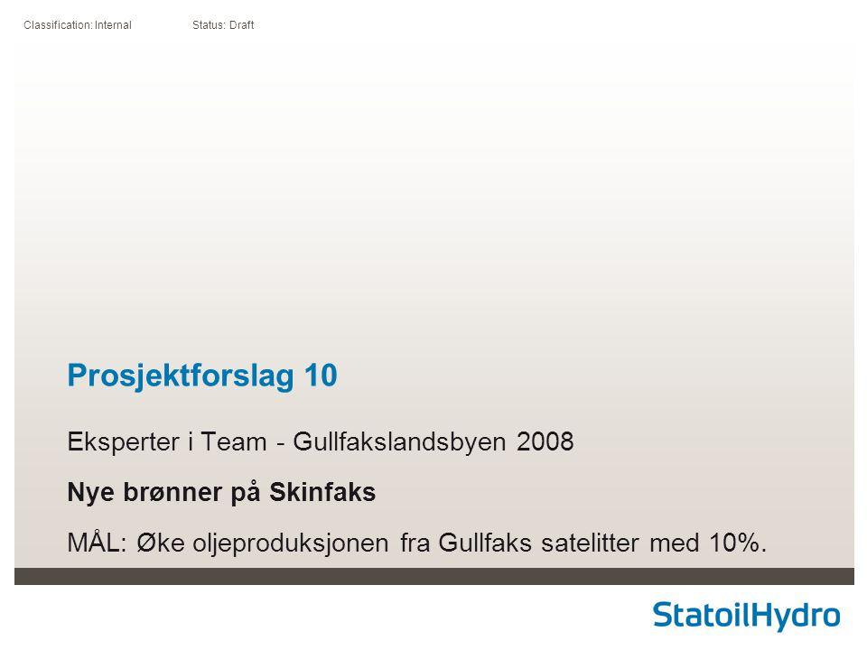 Classification: Internal Status: Draft Prosjektforslag 10 Eksperter i Team - Gullfakslandsbyen 2008 Nye brønner på Skinfaks MÅL: Øke oljeproduksjonen fra Gullfaks satelitter med 10%.
