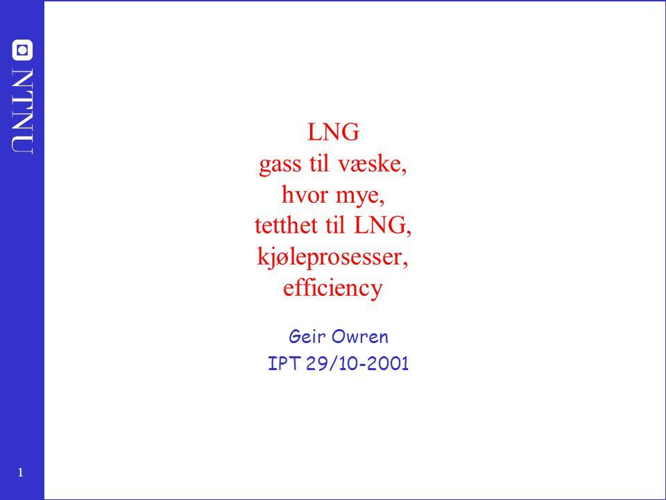 1 LNG gass til væske, hvor mye, tetthet til LNG, kjøleprosesser, efficiency Geir Owren IPT 29/10-2001