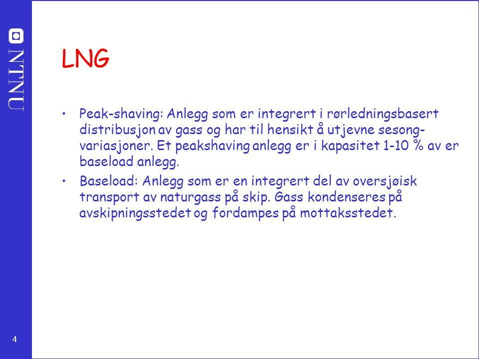 4 LNG Peak-shaving: Anlegg som er integrert i rørledningsbasert distribusjon av gass og har til hensikt å utjevne sesong- variasjoner.