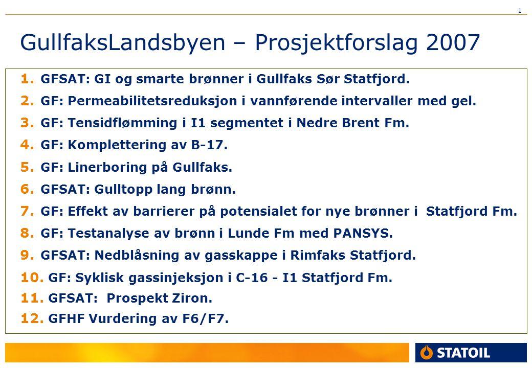 1 GullfaksLandsbyen – Prosjektforslag 2007 1. GFSAT: GI og smarte brønner i Gullfaks Sør Statfjord. 2. GF: Permeabilitetsreduksjon i vannførende inter