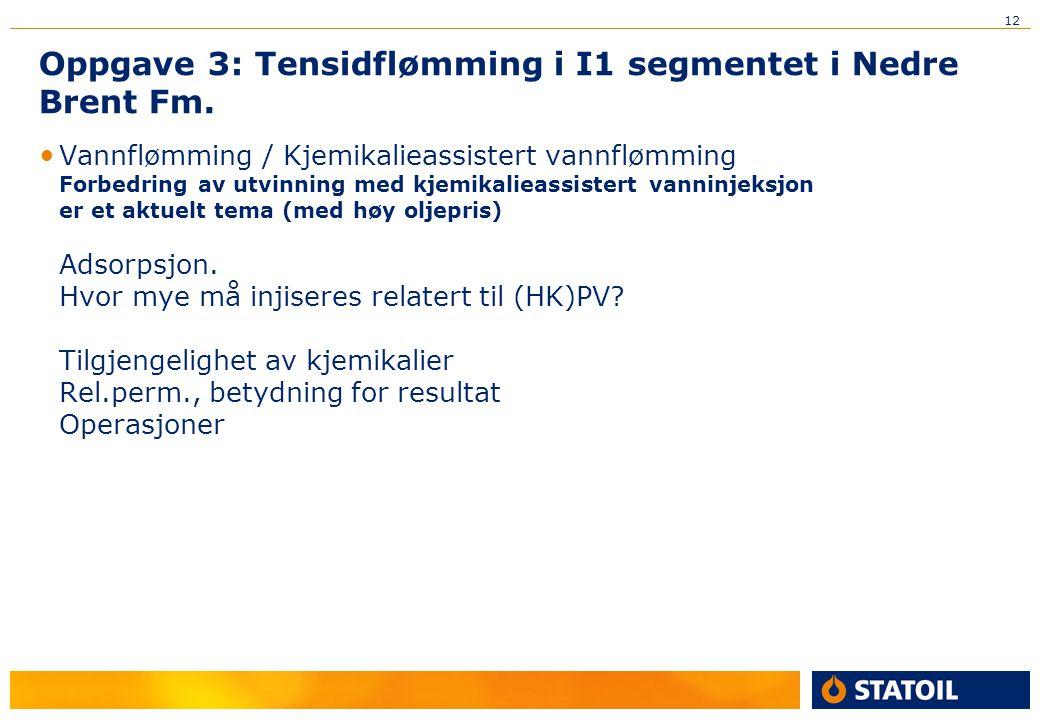 12 Oppgave 3: Tensidflømming i I1 segmentet i Nedre Brent Fm. Vannflømming / Kjemikalieassistert vannflømming Forbedring av utvinning med kjemikalieas