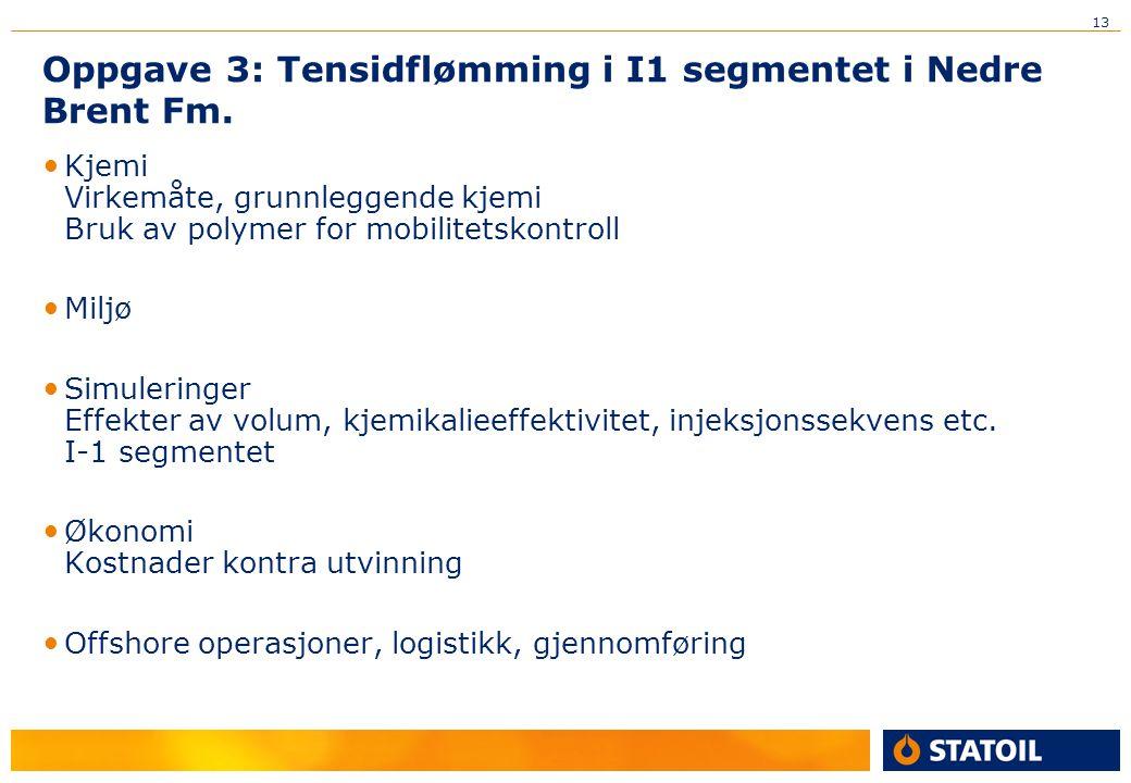 13 Oppgave 3: Tensidflømming i I1 segmentet i Nedre Brent Fm. Kjemi Virkemåte, grunnleggende kjemi Bruk av polymer for mobilitetskontroll Miljø Simule