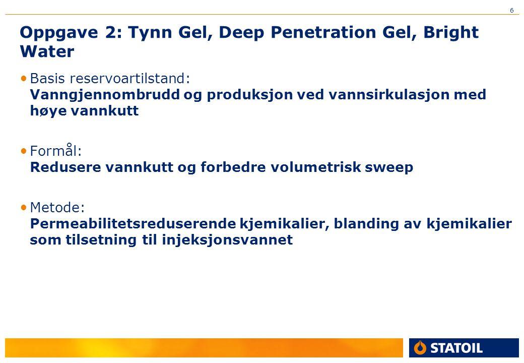 6 Oppgave 2: Tynn Gel, Deep Penetration Gel, Bright Water Basis reservoartilstand: Vanngjennombrudd og produksjon ved vannsirkulasjon med høye vannkut