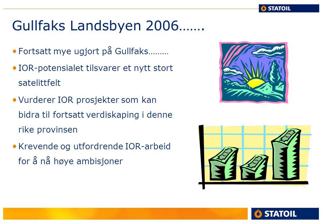 Gullfaks Landsbyen 2006……. Fortsatt mye ugjort på Gullfaks……… IOR-potensialet tilsvarer et nytt stort satelittfelt Vurderer IOR prosjekter som kan bid