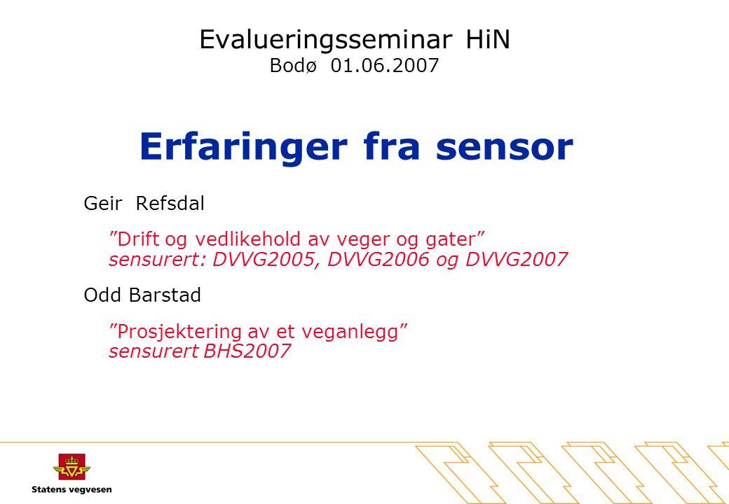Erfaringer fra sensor –Om opplegg på nett, VIKTIG –Om eksamenssystemet –Om gjennomføringen av eksamen –Egenvurdering - Sensorvurdering
