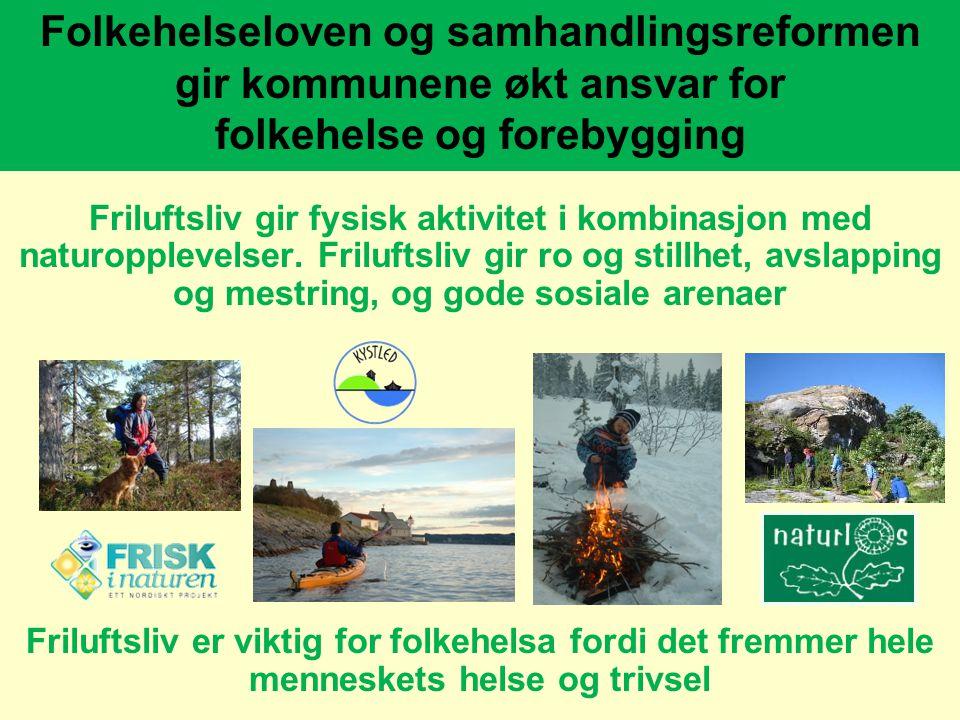 www.friluftsrad.no Folkehelseloven og samhandlingsreformen gir kommunene økt ansvar for folkehelse og forebygging Friluftsliv gir fysisk aktivitet i k