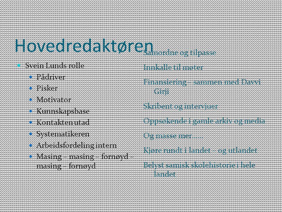 Hovedredaktøren Svein Lunds rolle Pådriver Pisker Motivator Kunnskapsbase Kontakten utad Systematikeren Arbeidsfordeling intern Masing – masing – forn