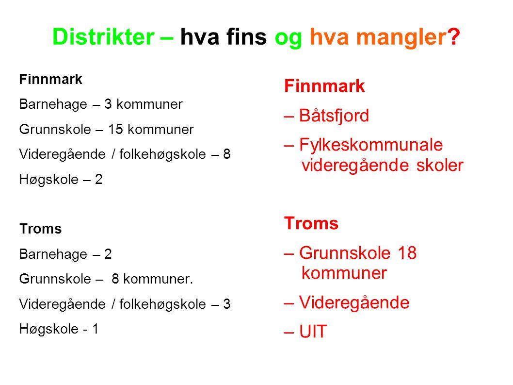 Distrikter – hva fins og hva mangler? Finnmark Barnehage – 3 kommuner Grunnskole – 15 kommuner Videregående / folkehøgskole – 8 Høgskole – 2 Troms Bar