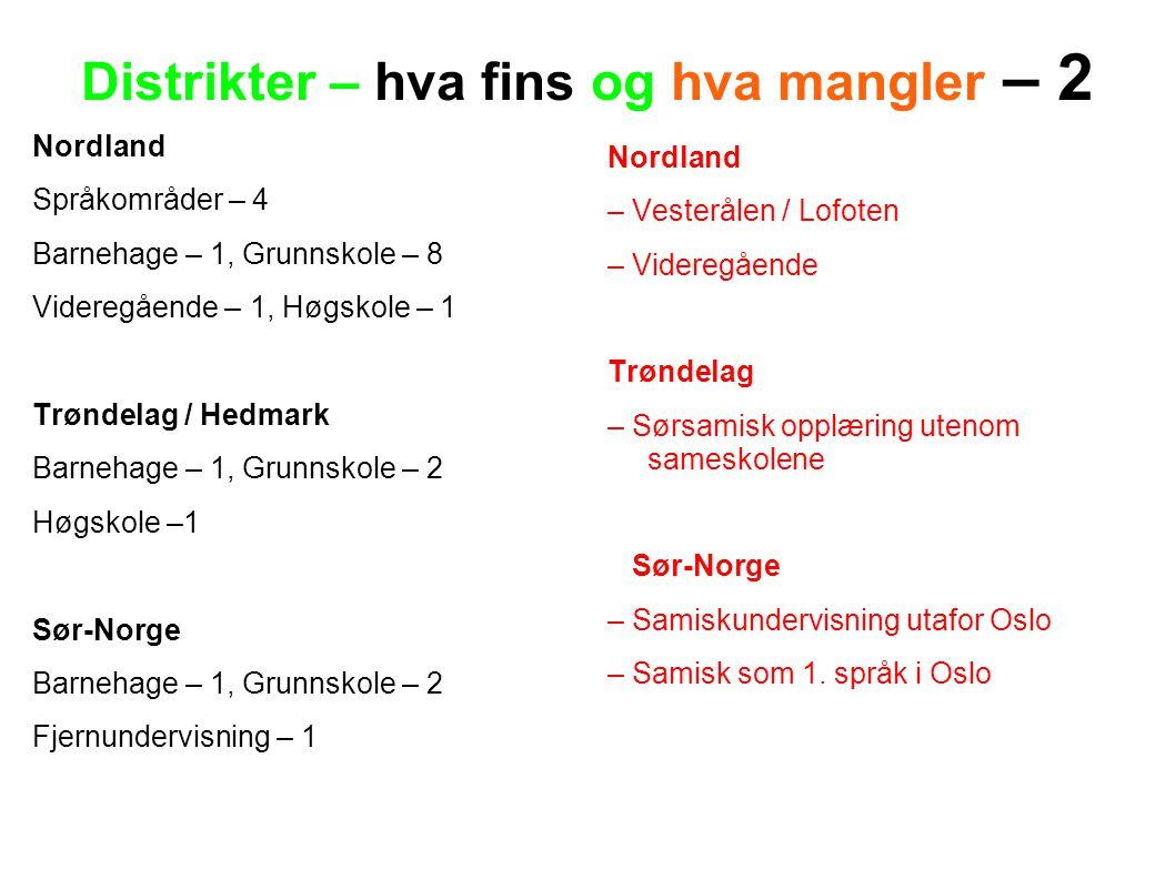 Distrikter – hva fins og hva mangler – 2 Nordland Språkområder – 4 Barnehage – 1, Grunnskole – 8 Videregående – 1, Høgskole – 1 Trøndelag / Hedmark Ba