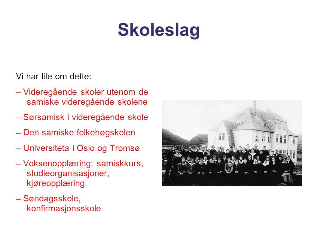Skoleslag Vi har lite om dette: – Videregående skoler utenom de samiske videregående skolene – Sørsamisk i videregående skole – Den samiske folkehøgsk