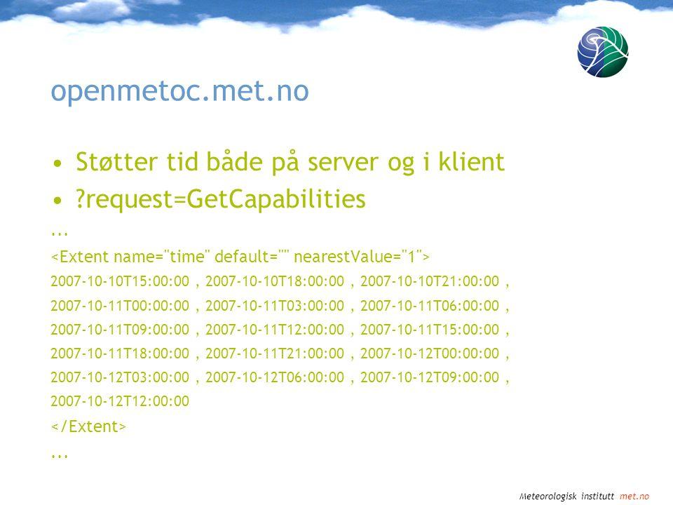 WMS-tjenester for griddede tidsseriedata Jan Ivar Pladsen Trond Michelsen
