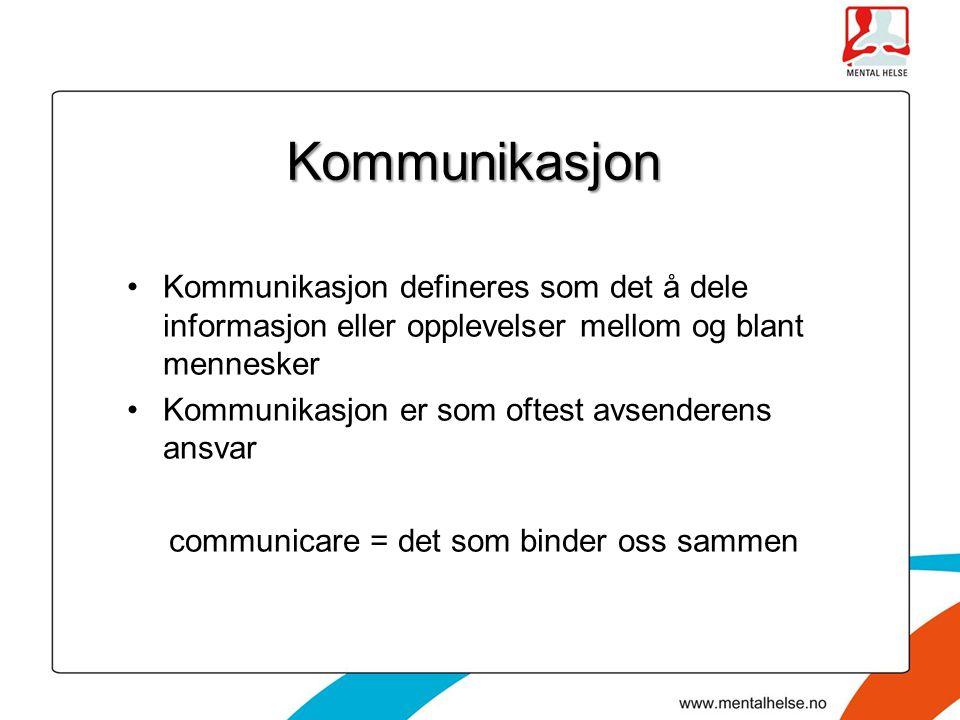 Kommunikasjon Kommunikasjon defineres som det å dele informasjon eller opplevelser mellom og blant mennesker Kommunikasjon er som oftest avsenderens a