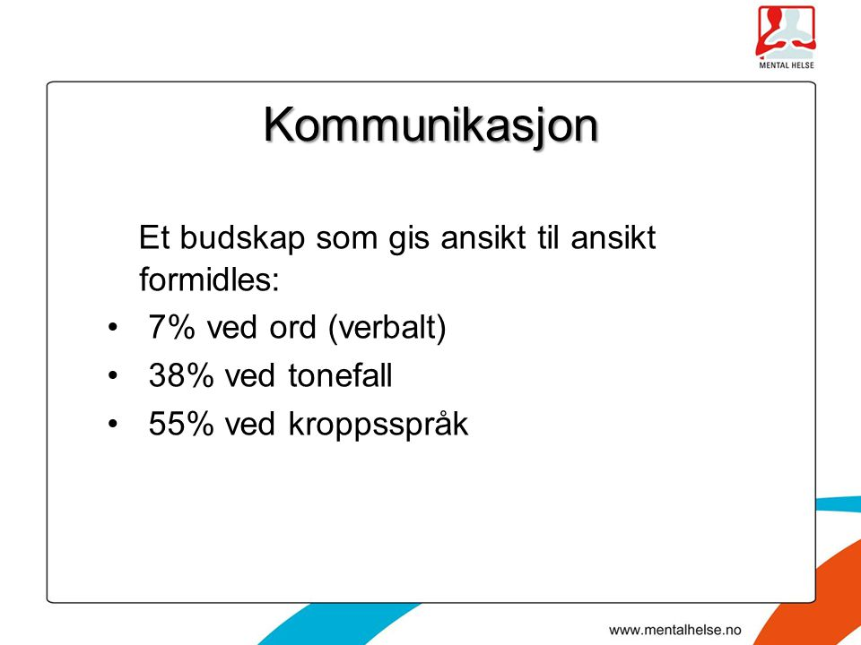 Kommunikasjon Et budskap som gis ansikt til ansikt formidles: 7% ved ord (verbalt) 38% ved tonefall 55% ved kroppsspråk
