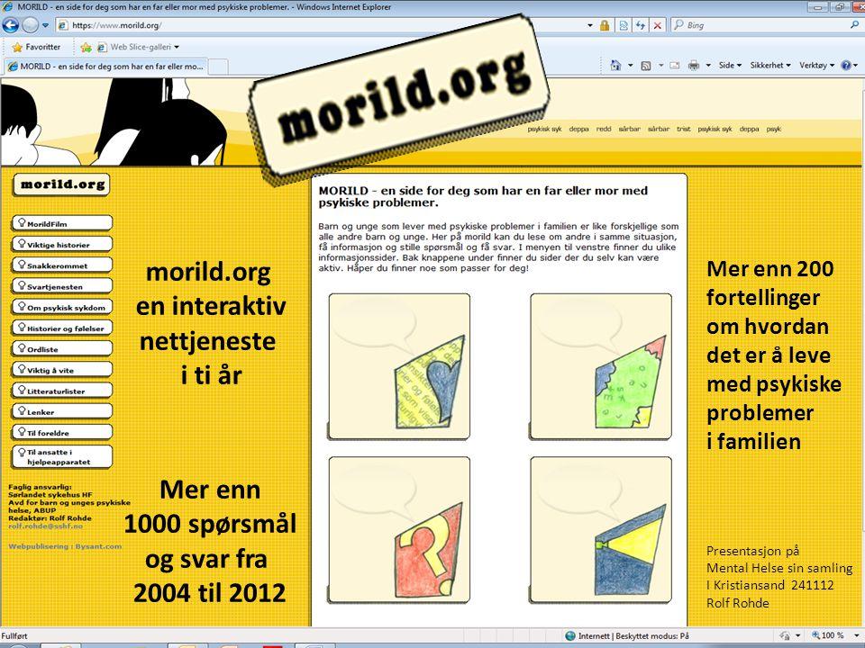 Mer enn 1000 spørsmål og svar fra 2004 til 2012 morild.org en interaktiv nettjeneste i ti år Mer enn 200 fortellinger om hvordan det er å leve med psy