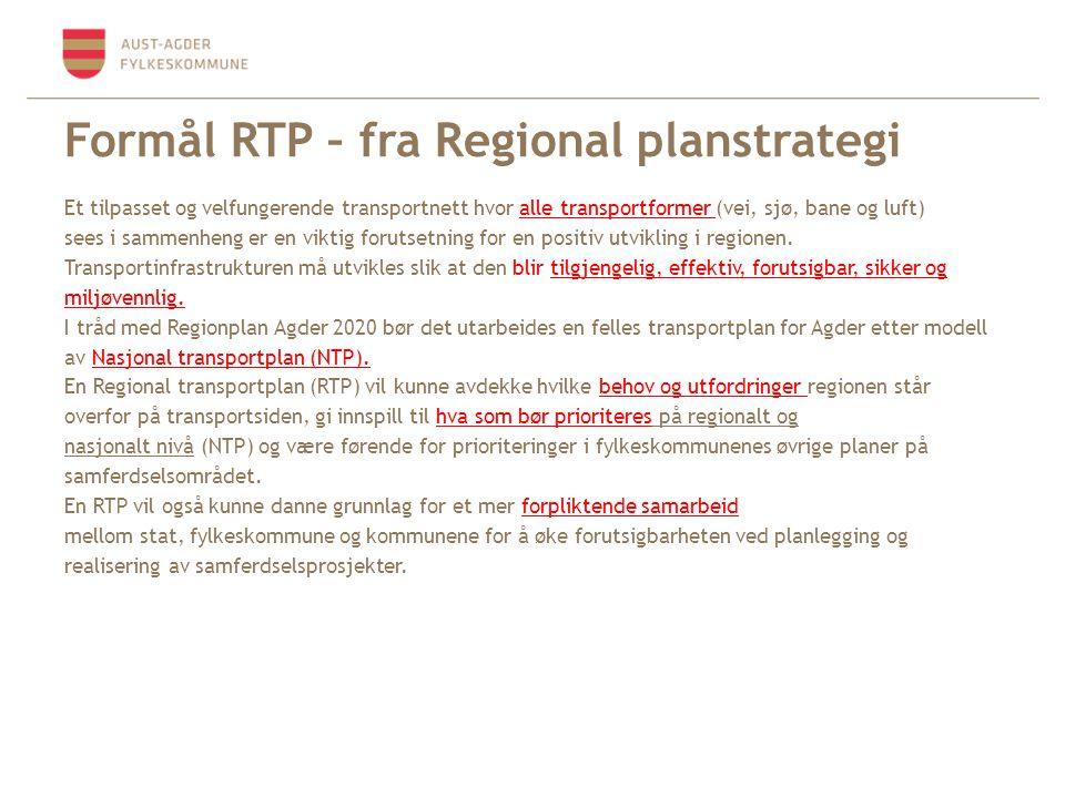 Formål RTP – fra Regional planstrategi Et tilpasset og velfungerende transportnett hvor alle transportformer (vei, sjø, bane og luft) sees i sammenhen
