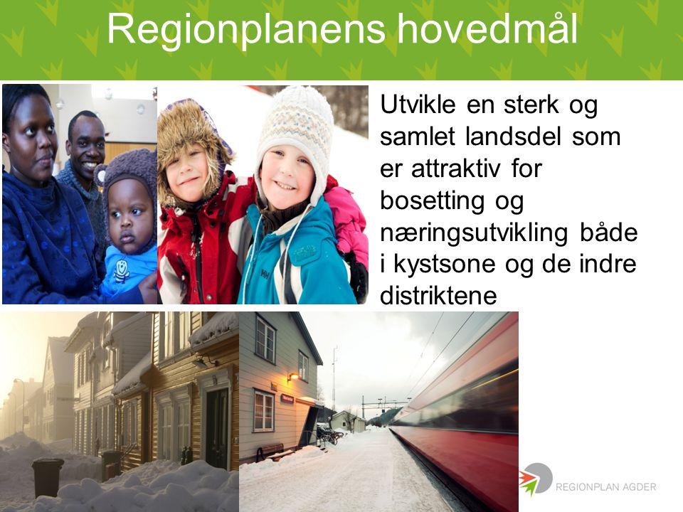 Regionplanens hovedmål Utvikle en sterk og samlet landsdel som er attraktiv for bosetting og næringsutvikling både i kystsone og de indre distriktene