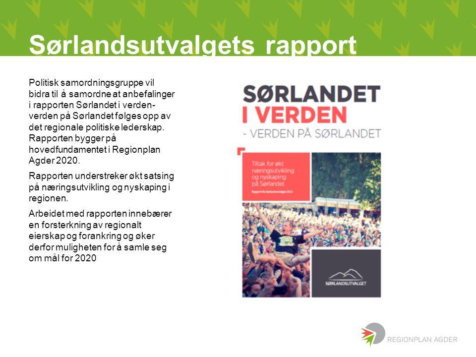Sørlandsutvalgets rapport Politisk samordningsgruppe vil bidra til å samordne at anbefalinger i rapporten Sørlandet i verden- verden på Sørlandet følges opp av det regionale politiske lederskap.