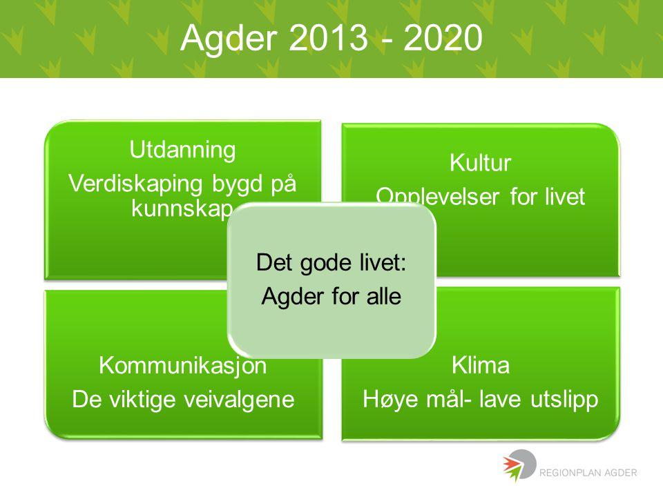 Agder 2013 - 2020 Utdanning Verdiskaping bygd på kunnskap Kultur Opplevelser for livet Kommunikasjon De viktige veivalgene Klima Høye mål- lave utslip