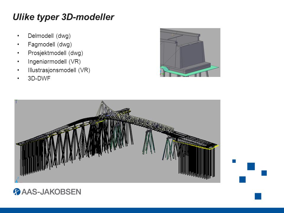 Ulike typer 3D-modeller Delmodell (dwg) Fagmodell (dwg) Prosjektmodell (dwg) Ingeniørmodell (VR) Illustrasjonsmodell (VR) 3D-DWF